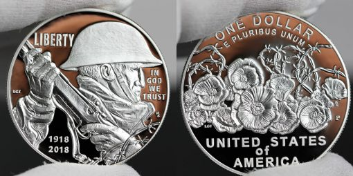 Photo of 2018-P Proof World War I Centennial Silver Dollar - Obverse and Reverse
