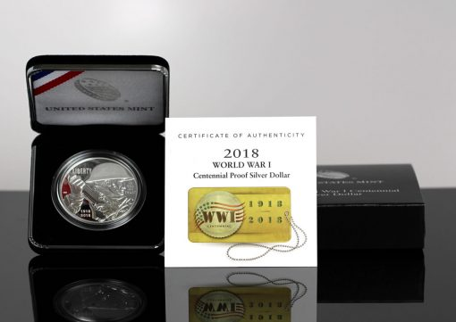 Photo of 2018-P Proof World War I Centennial Silver Dollar in Case, Cert, Box