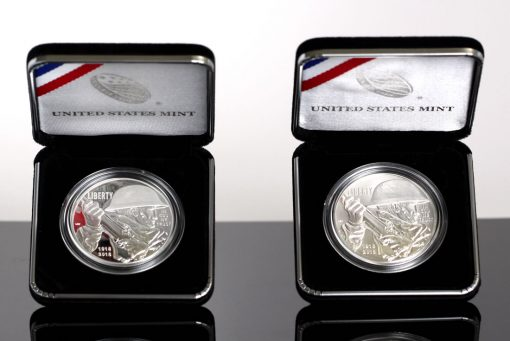 Photo of 2018-P Proof and Uncirculated World War I Centennial Silver Dollars in Case