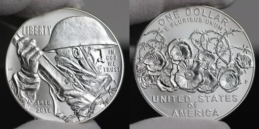 Photo of 2018-P Uncirculated World War I Centennial Silver Dollar - Obverse and Reverse