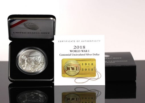 Photo of 2018-P Uncirculated World War I Centennial Silver Dollar in Case, Cert, Box