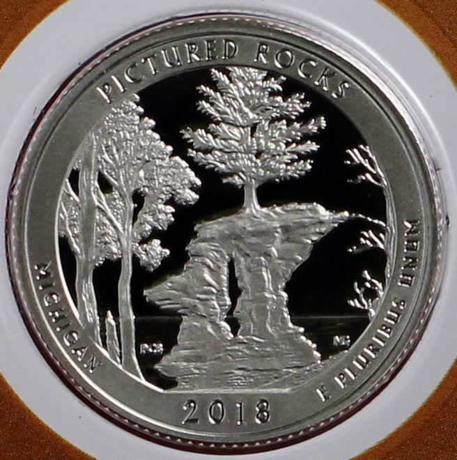 2018-S ATB Quarter Silver Proof Pictured Rocks No Problem Coin