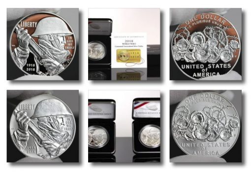 Photos of World War I Centennial 2018 Silver Dollars