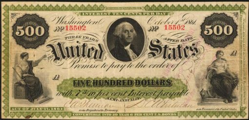 1861 $500 Interest Bearing Note