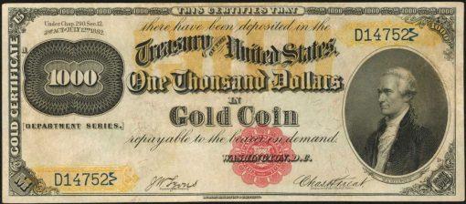 1882 $1000 Gold Certificate