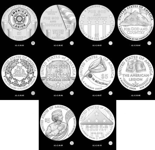 $5 Gold American Legion Reverse Design Candidates