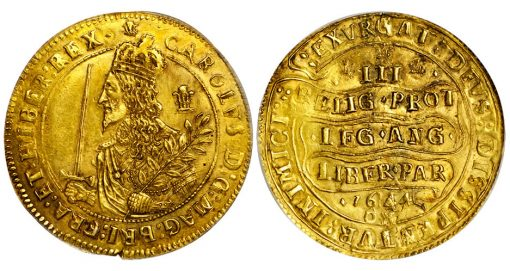 GREAT BRITAIN. Triple Unite, 1644-OX. Oxford Mint. Charles I (1625-49). PCGS AU-55 Secure Holder