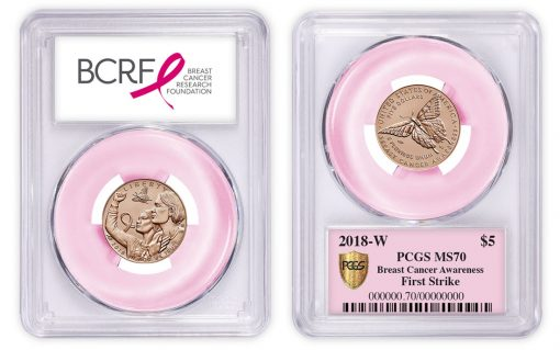 PCGS-graded 2018 $5 Breast Cancer Pink Gold Coin