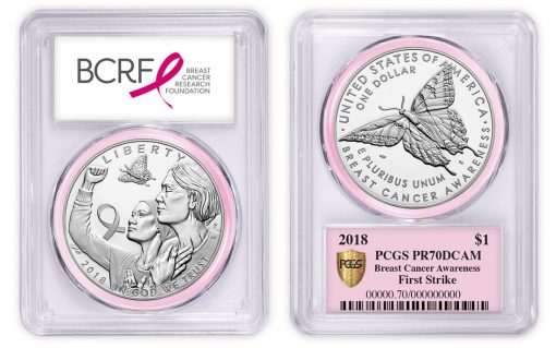 PCGS-graded 2018 Breast Cancer Silver Dollar