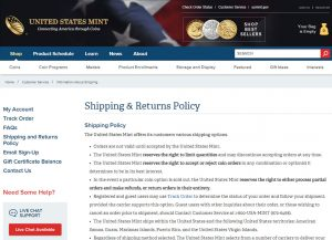 US Mint return policy page
