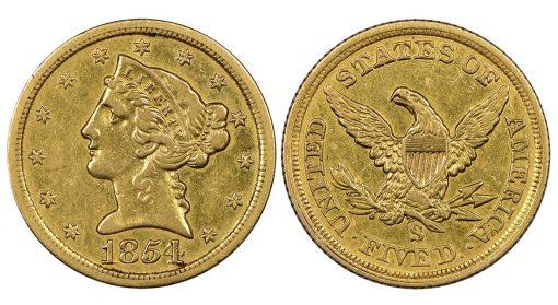 1854-S $5 Liberty Head Half Eagle