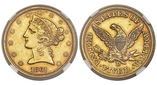 1861-D Half Eagle, Choice AU