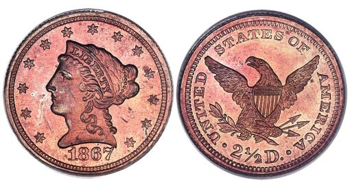 1867 Quarter Eagle in Copper