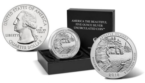 2018-P Apostle Islands National Lakeshore Uncirculated Five Ounce Silver Coin and Packaging