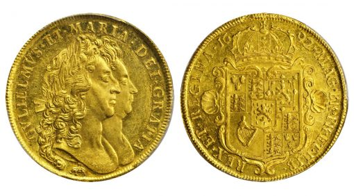 GREAT BRITAIN. 5 Guineas, 1692. William & Mary (1689-94). PCGS MS-62 Secure Holder