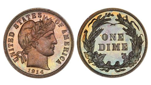 Lot 257 10C 1914 PCGS PR68 CAC From the Premier Barber Collection