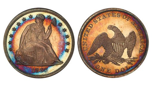 Lot 8 - $1 1865 PCGS PR64+ CAM CAC