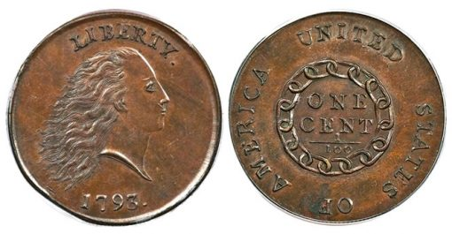 1793 chain cent PCGS MS65