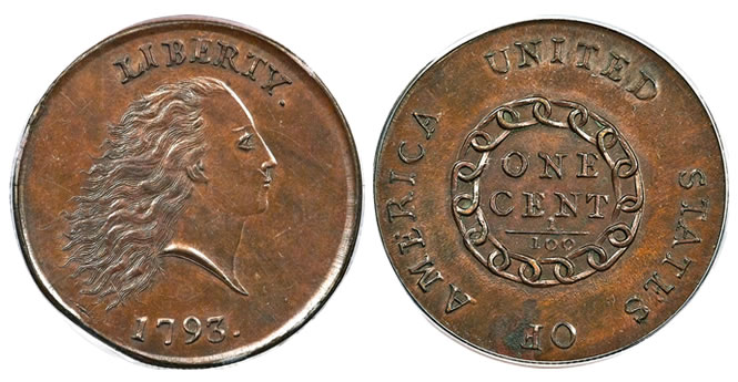 1793 chain cent PCGS MS65