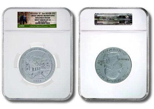 2014 No P Great Smoky Mountains 5oz Silver Coin Mint Error SP69