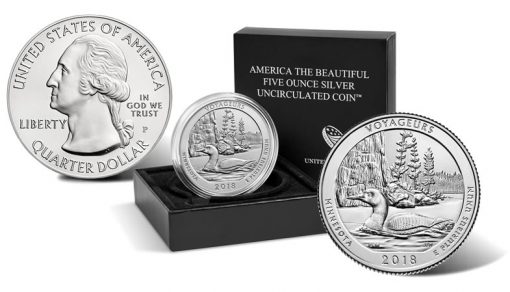 2018-P Voyageurs National Park Uncirculated Five Ounce Silver Coin and Packaging