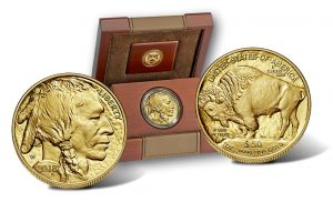 2018-W $50 Proof American Buffalo Gold Coin, Both Coin Sides and Case