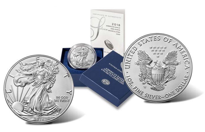 2018-W Uncirculated American Silver Eagle - Images of Obverse, Case and Reverse