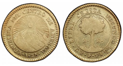 1835 Central America Republic 2 Escudos