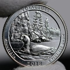 Photo of 2018-D Uncirculated Voyageurs National Park Quarter - Reverse,a