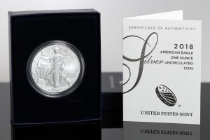 Photo of 2018-W Uncirculated American Silver Eagle, Case and Cert
