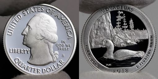 Photo of Silver 2018-S Proof Voyageurs National Park Quarter - Obverse and Reverse
