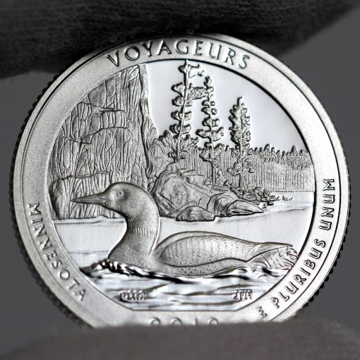 Photo of Silver 2018-S Proof Voyageurs National Park Quarter - Reverse