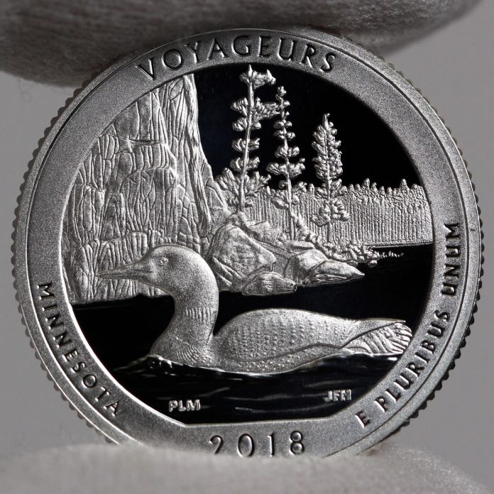 Photo of Silver 2018-S Proof Voyageurs National Park Quarter - Reverse,a