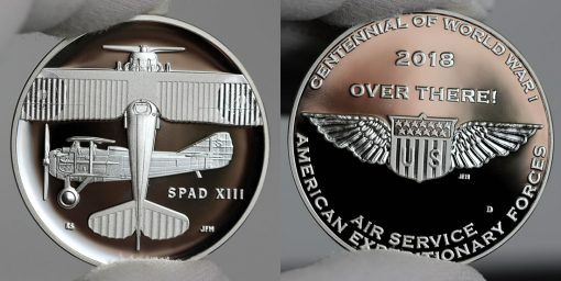 Photo of World War I Centennial 2018 Air Service Silver Medal - Obverse and Reverse-a