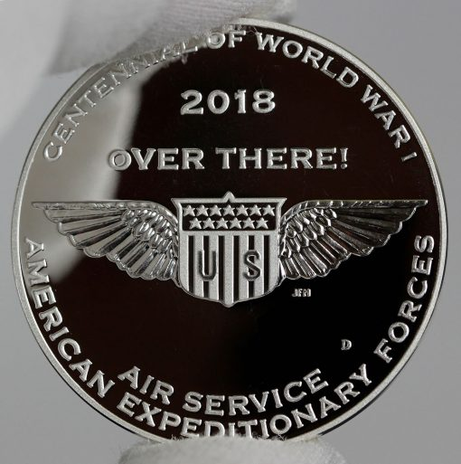 Photo of World War I Centennial 2018 Air Service Silver Medal - Reverse