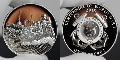 Photo of World War I Centennial 2018 Coast Guard Silver Medal - Obverse and Reverse