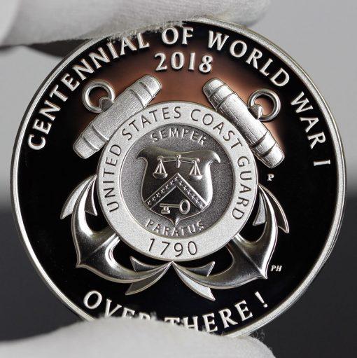 Photo of World War I Centennial 2018 Coast Guard Silver Medal - Reverse