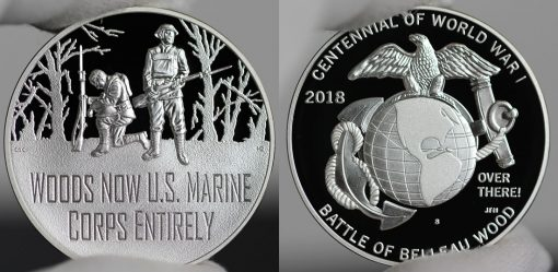 Photo of World War I Centennial 2018 Marine Corps Silver Medal - Obverse and Reverse
