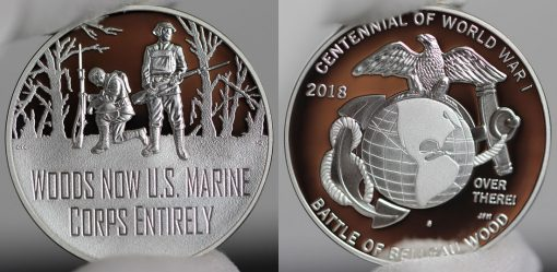 Photo of World War I Centennial 2018 Marine Corps Silver Medal - Obverse and Reverse-a