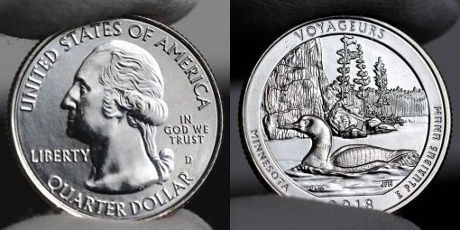 Photo of clad 2018-D Uncirculated Voyageurs National Park Quarter - Obverse and Reverse