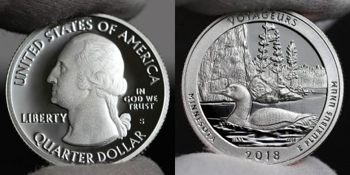 Photo of clad 2018-S Proof Voyageurs National Park Quarter - Obverse and Reverse