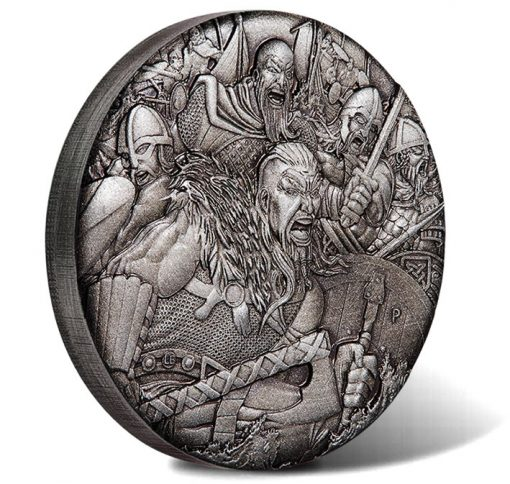 Vikings 2018 2oz Silver Antiqued High Relief Coin