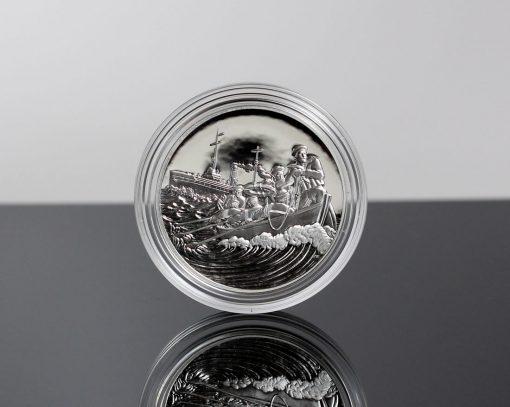 World War I Centennial 2018 Coast Guard Silver Medal - Obverse, Encapsulated