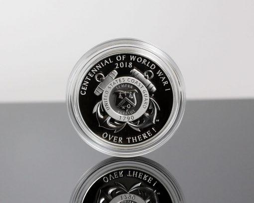 World War I Centennial 2018 Coast Guard Silver Medal - Reverse, Encapsulated