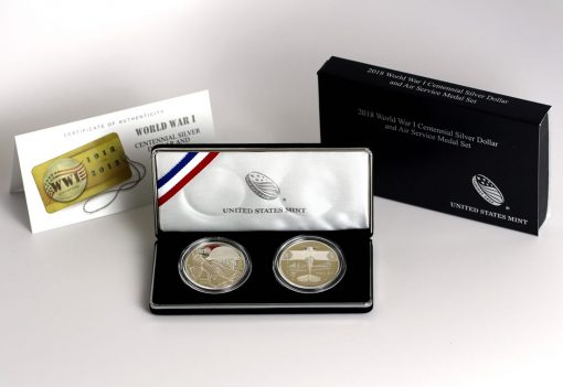 World War I Centennial 2018 Silver Dollar and Air Service Silver Medal, Certificate and Case