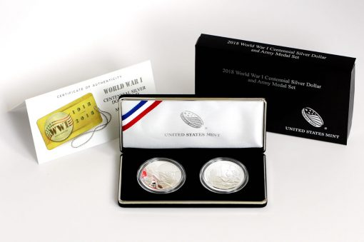 World War I Centennial 2018 Silver Dollar and Army Silver Medal, Certificate and Case