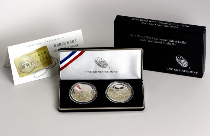 World War I Centennial 2018 Silver Dollar and Coast Guard Silver Medal, Certificate and Case
