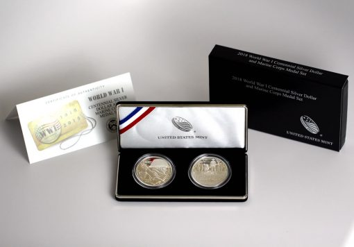 World War I Centennial 2018 Silver Dollar and Marine Corp Silver Medal, Certificate and Case