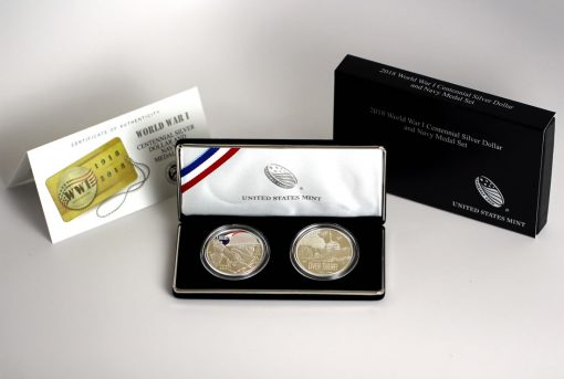 World War I Centennial 2018 Silver Dollar and Navy Silver Medal, Certificate and Case
