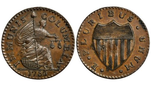 1786 Immunis Columbia-New Jersey Shield Reverse. Rarity-6+. Copper. MS-63 BN (PCGS)